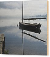 Misty Morning On Lake Bohinj Wood Print