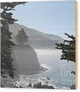 Misty Morning On The Big Sur Coastline Wood Print by Camilla Brattemark