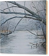 Misty Morning On The Red River Wood Print