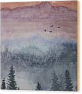 Misty Mountain Wood Print by Terri Maddin-Miller