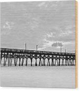 Misty Pier Wood Print