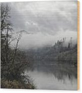 Misty River Drive Along The Umpqua Wood Print