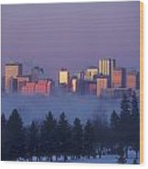 Misty Skyline, Edmonton, Alberta, Canada Wood Print