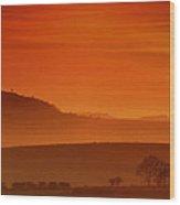 Misty Sunset Wood Print by Mark Leader