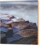 Misty Tide At Monument Cove Wood Print