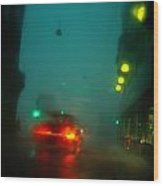 Misty View Of Car Lights On A City Wood Print