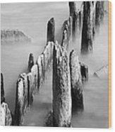 Misty Wooden Posts Wood Print