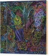 Mixed Media In Blues Wood Print