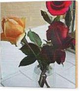 Mixed Roses In Crystal Vase Wood Print