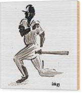 Mlb Base Hit Wood Print