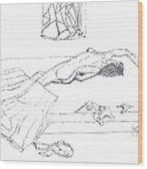 Mmm...stretch... Sketch Wood Print by Robert Meszaros