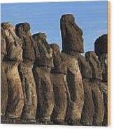 Moai Along The Coast Of Easter Island Wood Print