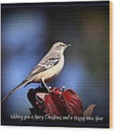 Mockingbird Holidays Wood Print