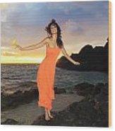 Model In Orange Dress II Wood Print