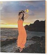 Model In Orange Dress Wood Print
