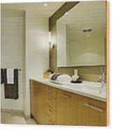 Modern Bathroom Interior Wood Print