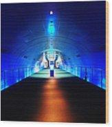 Modern Blue Tunnel Wood Print
