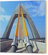 Modern Cable-stayed Bridge Wood Print