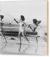 Modern Dance On The Beach Wood Print
