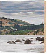 Moeraki Boulder East Coast Of South New Zealand   Wood Print