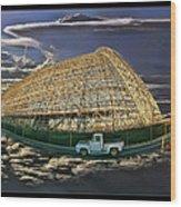 Moffett Field Hangar One And Truck Wood Print
