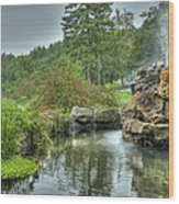 Mohonk Koi Pond On A Rainy Day Wood Print