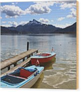 Mondsee Lake Boats Wood Print