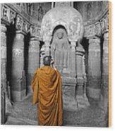 Monk At Ajanta Caves India Wood Print