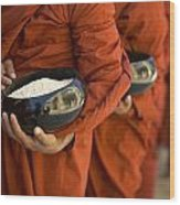 Monks With Rice Bowls, Inle Lake Wood Print