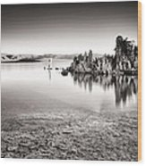 Monochrome Mono Lake Sunrise Wood Print by Tanya Harrison
