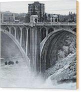 Monroe St Bridge 2 - Spokane Washington Wood Print by Daniel Hagerman