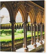 Mont Saint Michel Cloister Wood Print