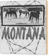 Montana Horse Design Wood Print