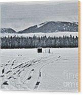 Montana Ice Fishing Wood Print