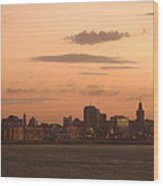 Montevideo Skyline At Sunrise Wood Print