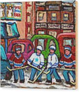 Montreal Bagels And Hockey Wood Print