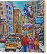 Montreal Street Scenes In Winter Wood Print by Carole Spandau