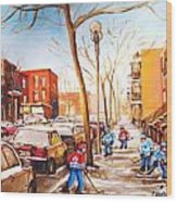Montreal Street With Six Boys Playing Hockey Wood Print