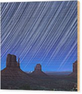 Monument Valley Star Trails 1 Wood Print