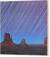 Monument Valley Star Trails  Wood Print by Jane Rix