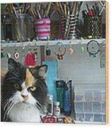 Moo Shu Cat On My Desk Wood Print by Kristi L Randall