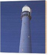 Moon Above Lighthouse At Dusk Wood Print