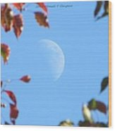 Moon Amidst Red Leaves Wood Print