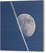 Moon And Aircraft Contrails Wood Print