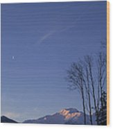 Moon And Alpenglow Wood Print