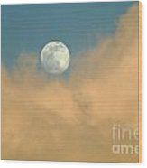 Moon And Cloud  Wood Print