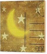 Moon And Star Postcard Wood Print
