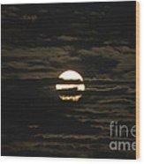 Moon Behind The Clouds Wood Print