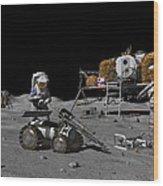 Moon Exploration, Artwork Wood Print