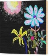 Moon Garden Wood Print